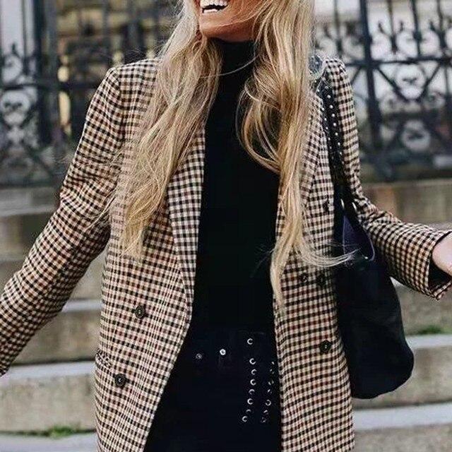 2018 модный клетчатый женский Блейзер Пальто Ретро на пуговицах клетчатый костюм куртка с подплечниками Куртка Блейзер Женский Повседневный пальто