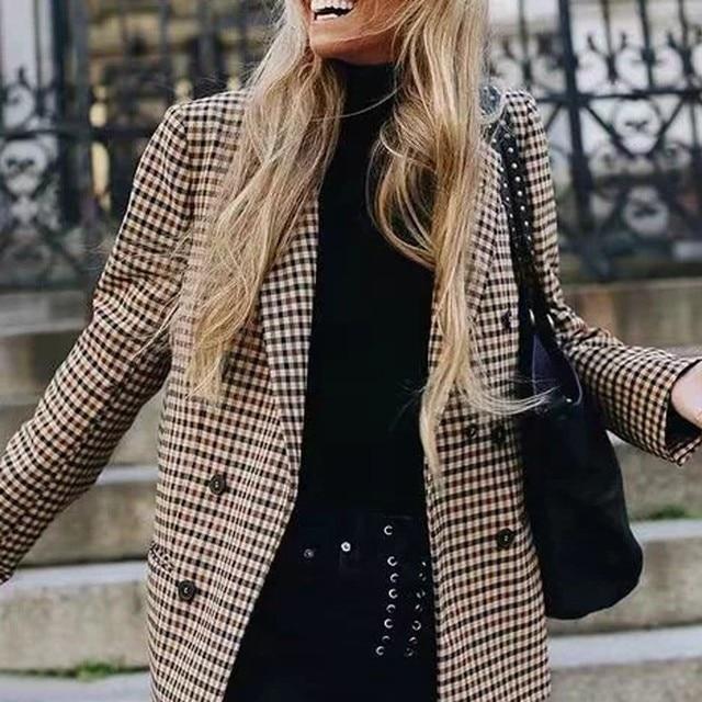 2019 אופנה משובצת נשים בלייזר מעיל רטרו כפתור סריג חליפת מעיל עם כתף רפידות מעיל בלייזר נקבה מקרית מעילים