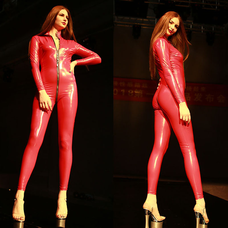Plus Size Glazed Leather Zipper Open Crotch Latex Catsuit Rompers Womens Jumpsuit Set Body Mujer Long