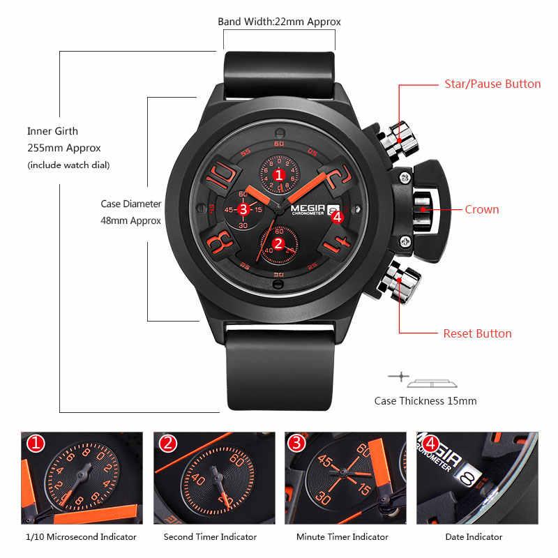 Megir Fashion Mens Silicone Band Sport Quartz Wrist Watches Analog Display Chronograph Black Watch for Man with Calendar 2002