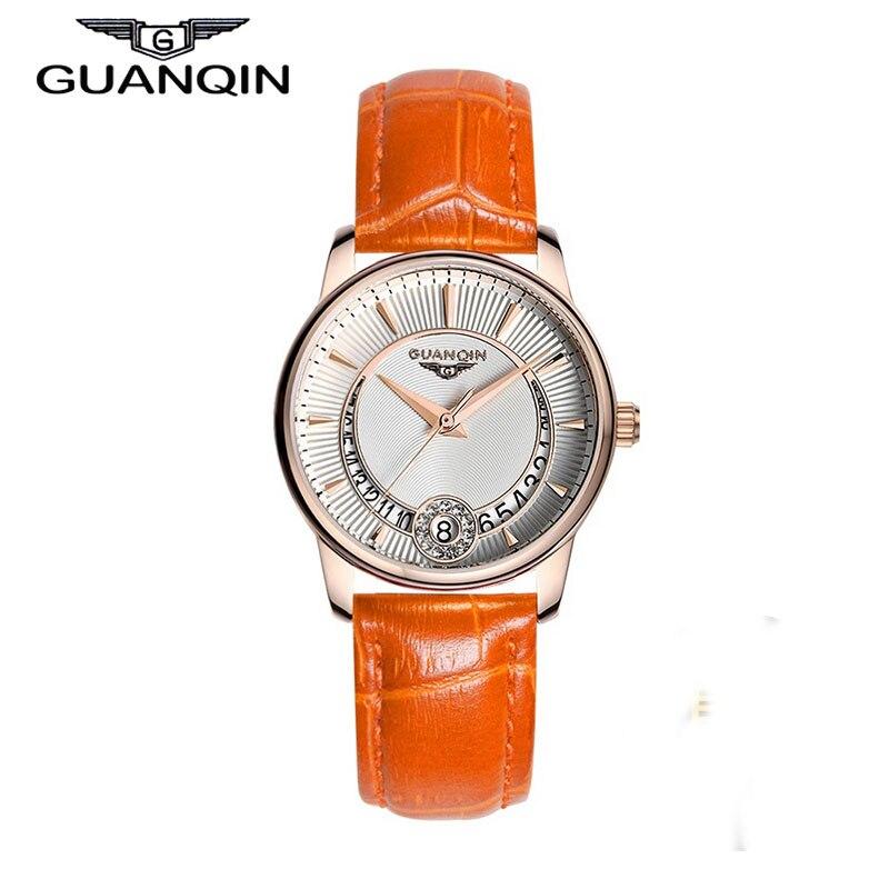 ФОТО GUANQIN GQ15009 Women's Fashion Casual Quartz Watch Gold Case Leather Strap Ladies Luxury Jewelry Watches relogio feminino