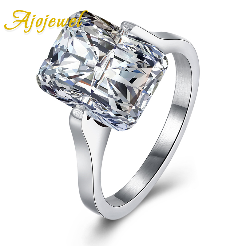 Ajojewel Simple Style Square Clear Cubic Zircon 316L Titanium Steel Engagement Ring Jewelry Bijoux