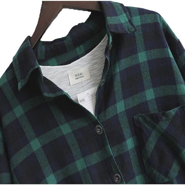 Blusa de mujer Camisa suelta Casual Plaid Camisas de manga larga Tops de gran tamaño Blusas para mujer Rojo Verde 2021 5