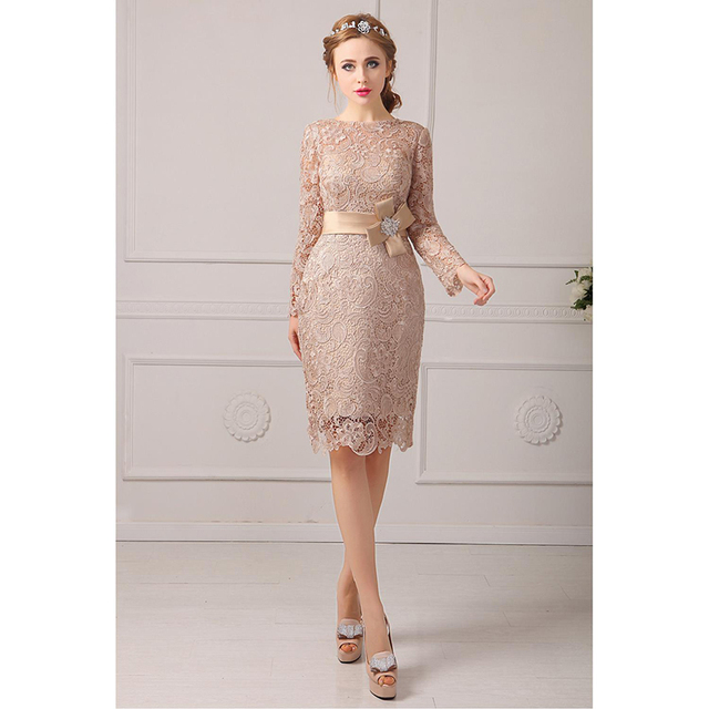 d8c772c96bb LAN TING BRIDE Sheath Column Jewel Neck Knee Length Lace Mother of the Bride  Dress with Lace Sash Ribbon