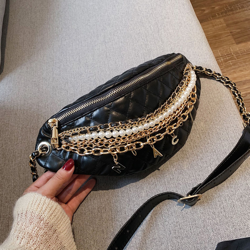 SXCNN Fashion Small Bag Female 2019 New Chain Waist Bag Wild PU Leather Chest Bag Chain Shoulder Messenger Bag Girls Money Bag