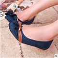 Women's Flock Round Toe Sewing Bow Round Toe Plus size 34-43 Lady's Single Flats Boat Shoes Comfortable Shopping Dancing Flattie