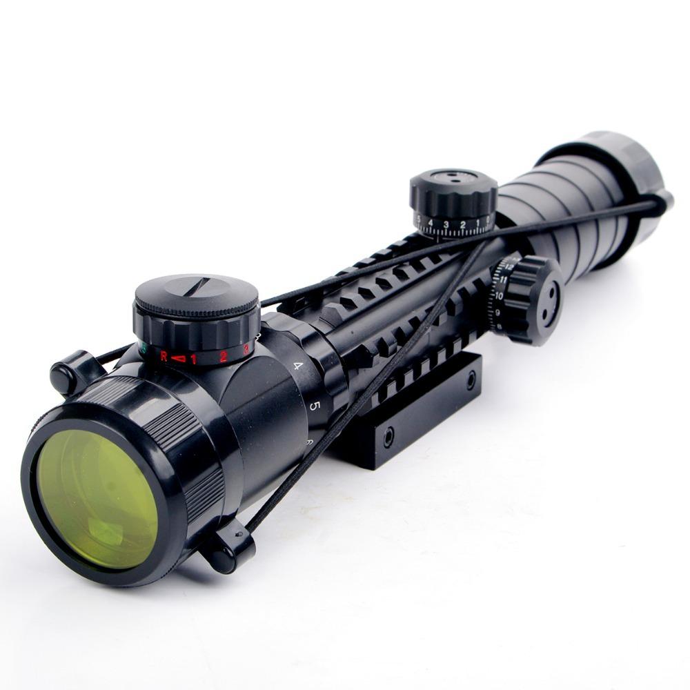 Prix pour Nouveau 3-9x32EG Lunette Rouge et Vert Lumineux Télémètre Réticule Shotgun Air Fusil de Chasse Portée Avec Lens Cover Livraison Gratuite