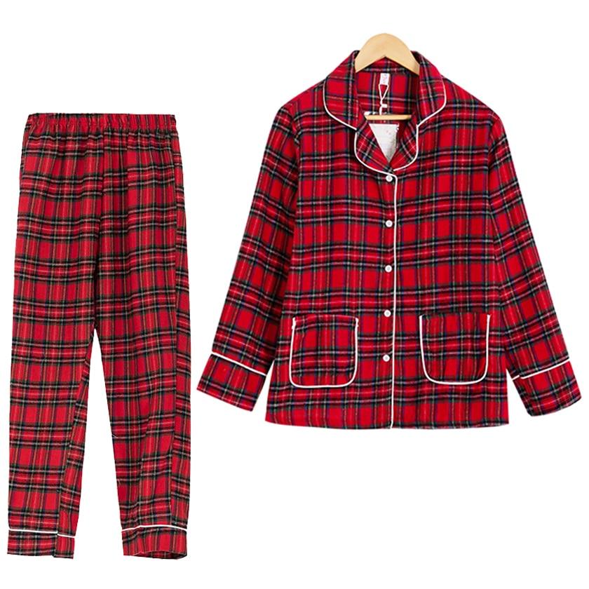Spring Autumn Plaid Pajamas Women Turn-down Collar Long Sleeve Top + Pants Elastic Waist 2 Pieces Suit Cotton Home Wear S70001