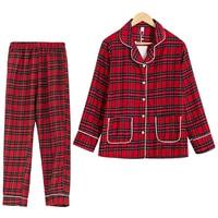 Spring Autumn Plaid Pajamas Women Turn down Collar Long Sleeve Top + Pants Elastic Waist 2 Pieces Suit Cotton Home Wear S70001