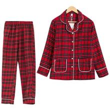 Wiosna jesień Plaid piżama kobiety skręcić w dół kołnierz z długim rękawem Top + spodnie w pasie 2 sztuk garnitur bawełna odzież domowa S70001