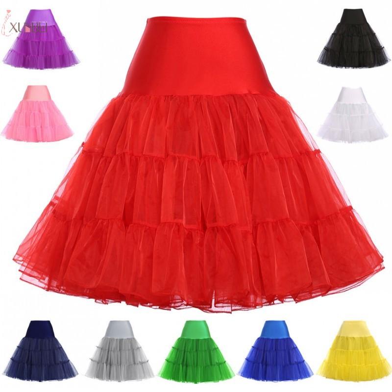 Rockabilly Red Wedding Petticoat Crinoline Short Tulle Skirt Underskirt Woman Adult Tutu Half Slips Bridal Accessories 2020