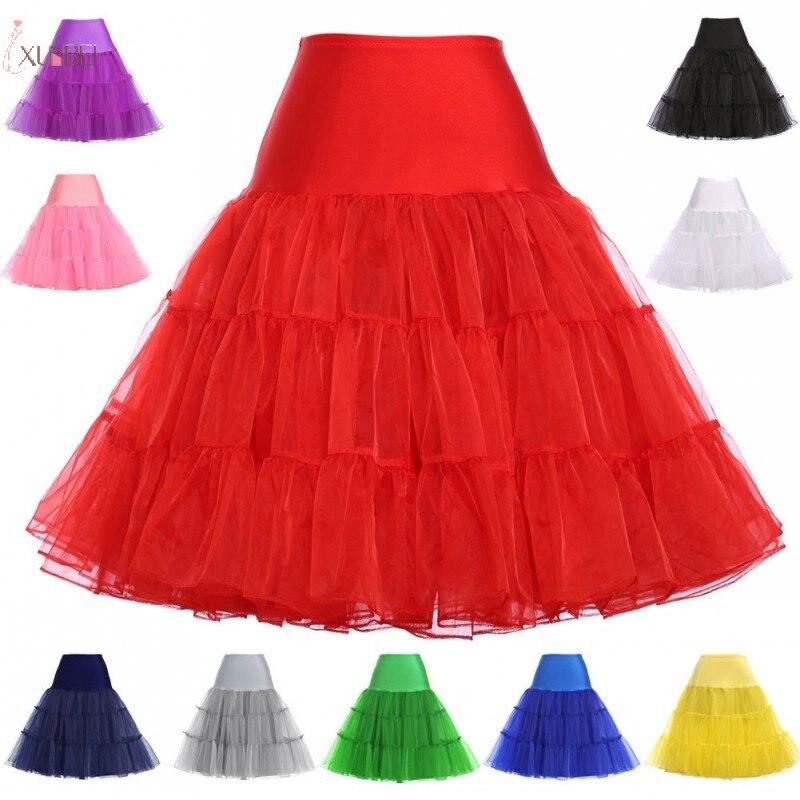 Rockabilly Rot Hochzeit Petticoat Krinoline Kurzen Tüll Rock Unterrock Frau Erwachsene Tutu Hälfte Rutscht Braut Zubehör 2020