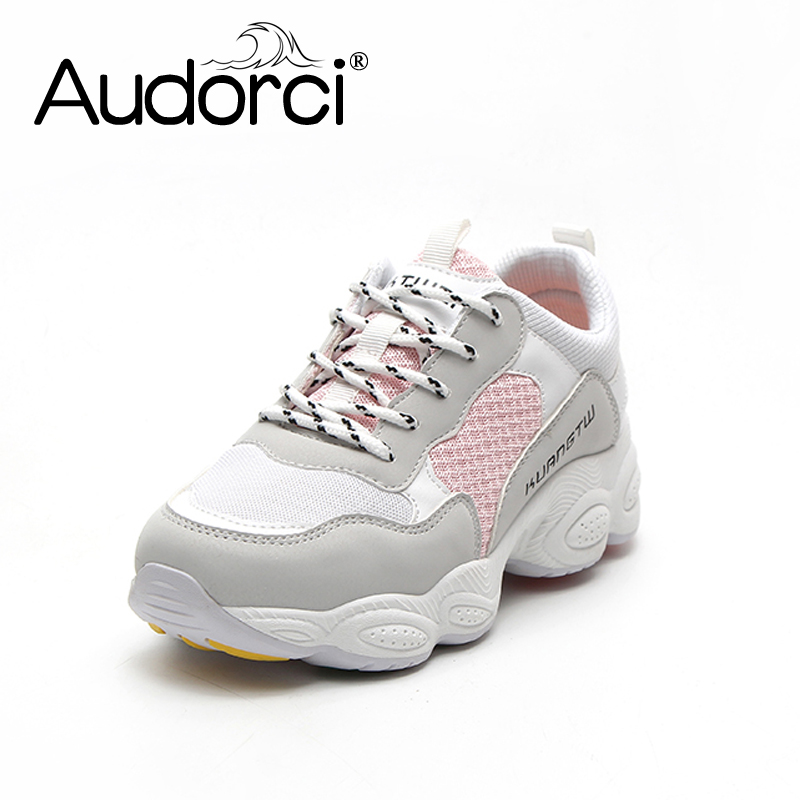 Audorci Women Shoes 2018 Spring Woman Fashion Light Breathable Mesh Shoe Woman Casual Sneakers Shoes Size 35-40 instantarts spring women air mesh flat shoes breathable golden retriever shiba inu flower sneakers woman casual flats big size