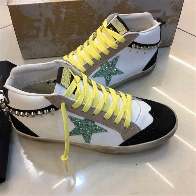 Glitter Leather Do Old Dirty Shoes Mixed Color High Top Women Flats Rivets Sequins  Star Golden ee5a49599fe9