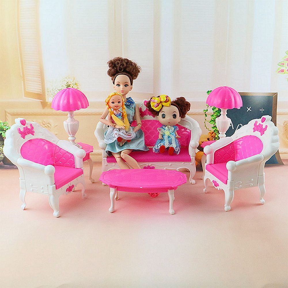 Aliexpress Buy E TING Mini Size Dollhouse Furniture Living Room Parlor Sofa Set For Barbie Doll House From Reliable Love Suppliers On