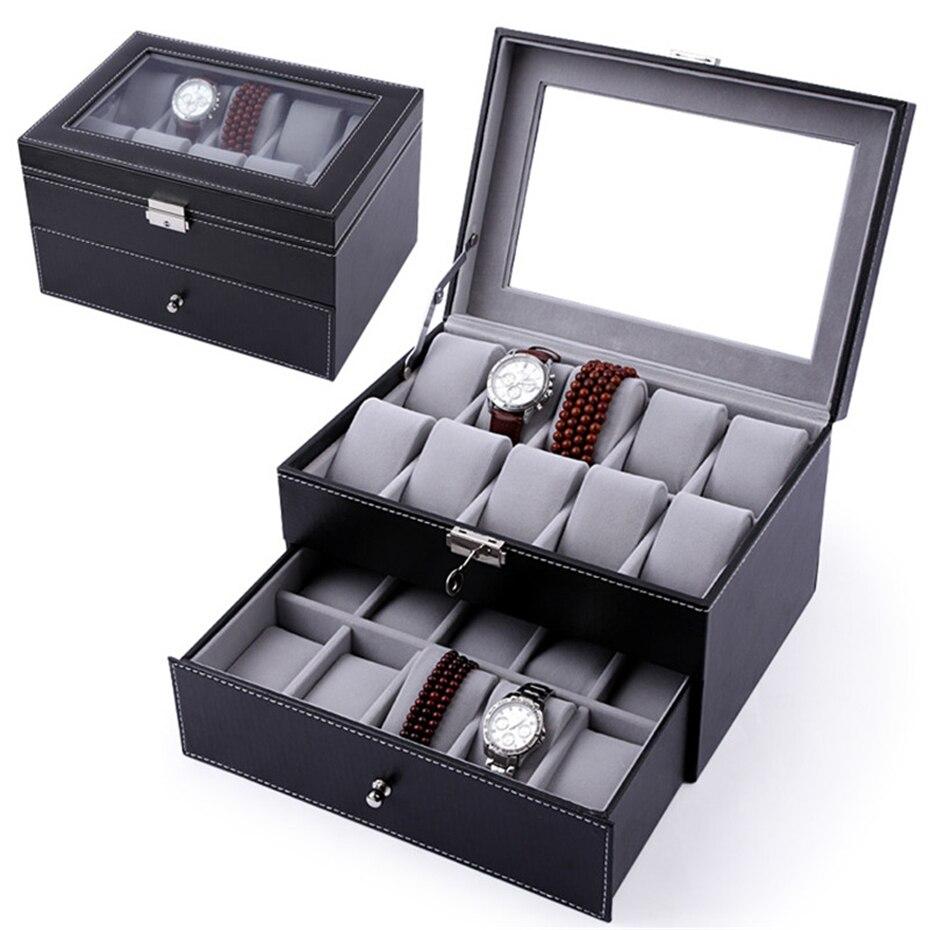 Boîte de montre en cuir Pu Aivtalk 20 fentes montre-bracelet Double pont boîte d'affichage boîte de rangement pour les vendeurs de montres bijoux