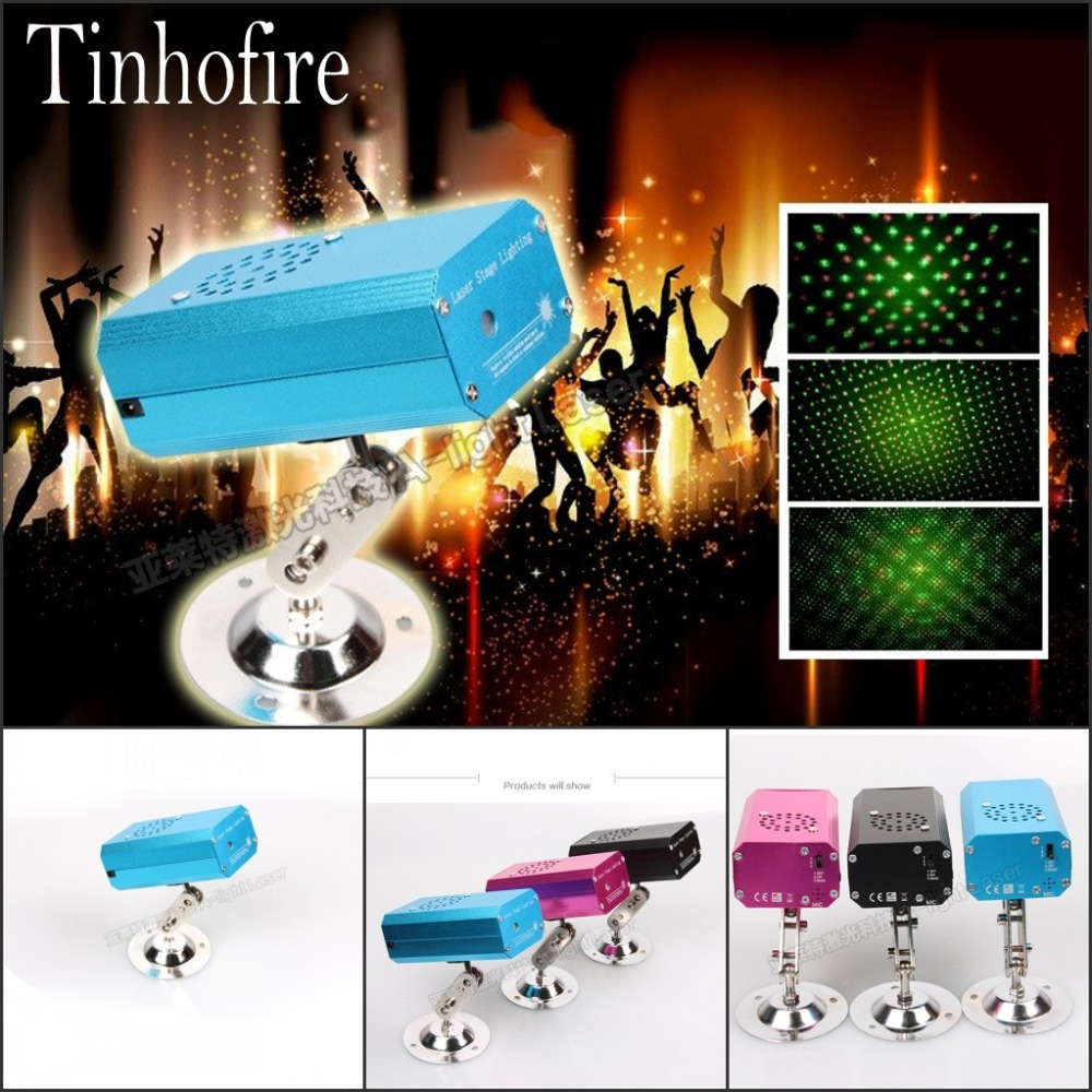 Tinhofire S-01 LED Stage Light Lamp R&G Laser Projector Stage Lighting Sound Control Party KTV DISCO lights tinhofire remote control 48 design led stage light lamp rg laser projector stage light 12v strobe laser dj disco party ktv
