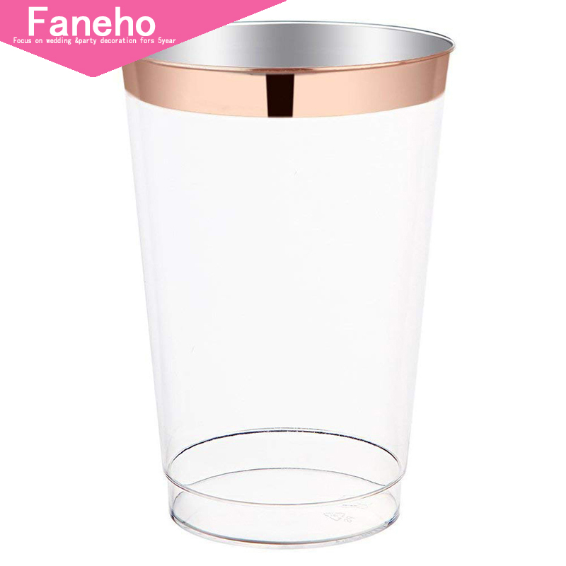 12oz Rose Gold Plastic Cups 100pack Clear Plastic Cups with Rose Gold Rim-Wedding/Party Disposable Cups-Heavyweight Plastic 12oz Rose Gold Plastic Cups 100pack Clear Plastic Cups with Rose Gold Rim-Wedding/Party Disposable Cups-Heavyweight Plastic