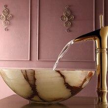 Кристалл дизайн для ванной раковины умывальника высокий смеситель-водопад кран палубного крепления одно отверстие