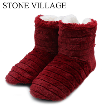 STONE VILLAGE Superior Quality Cute Bow Home Slippers 2018 New Korea Style Print Plush Warm Winter Women Slippers Woman shoes