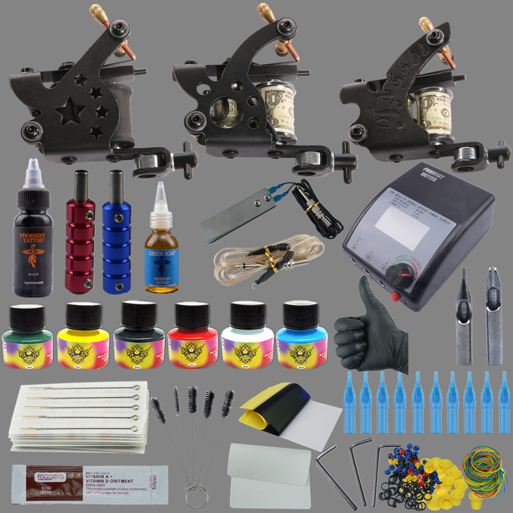 ФОТО Professional Tattoo Kits Top Artist Complete Set 3 Tattoo Machine Gun Lining And Shading Tattoo Inks Power Needles Tattoo Supply