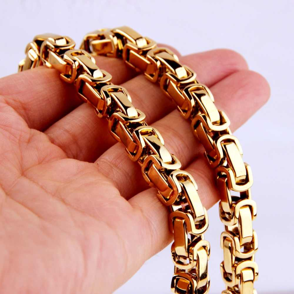5/6/8mm Customized Any Length Gold Tone Byzantine Stainless Steel Necklace Boys Mens Chain Necklace Fashion jewelry