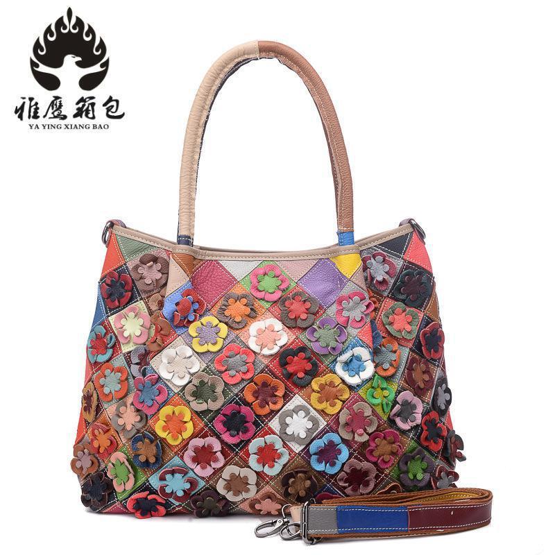 Fashion Flowers Women Messenger Bag Designer Handbags Girls Genuine Leather Cross Body Handbags Famous Brands Shoulder Bag
