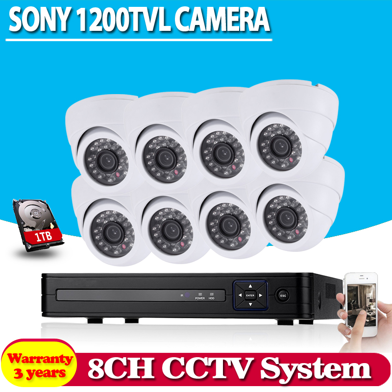 White dome sony 1200TVL Security Cameras with h 264 8 channel AHD DVR system 8ch cctv