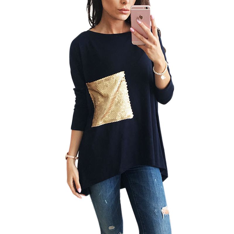Nice Breif T-Shirts Women's Asymmetric O Neck Long Bottoming Tunic T Shirts with Sequined Tshirts Top Plus Size Tee Top LX101