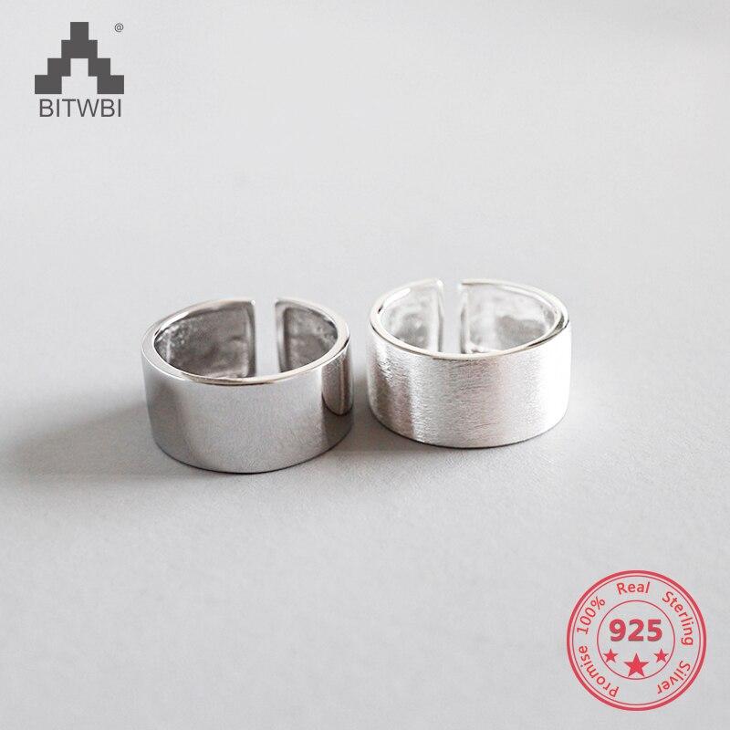 100% 925 Sterling Silber Einfache Geometrische Breit Glänzend Ringe Sterling Silber Schmuck Dinge Bequem Machen FüR Kunden