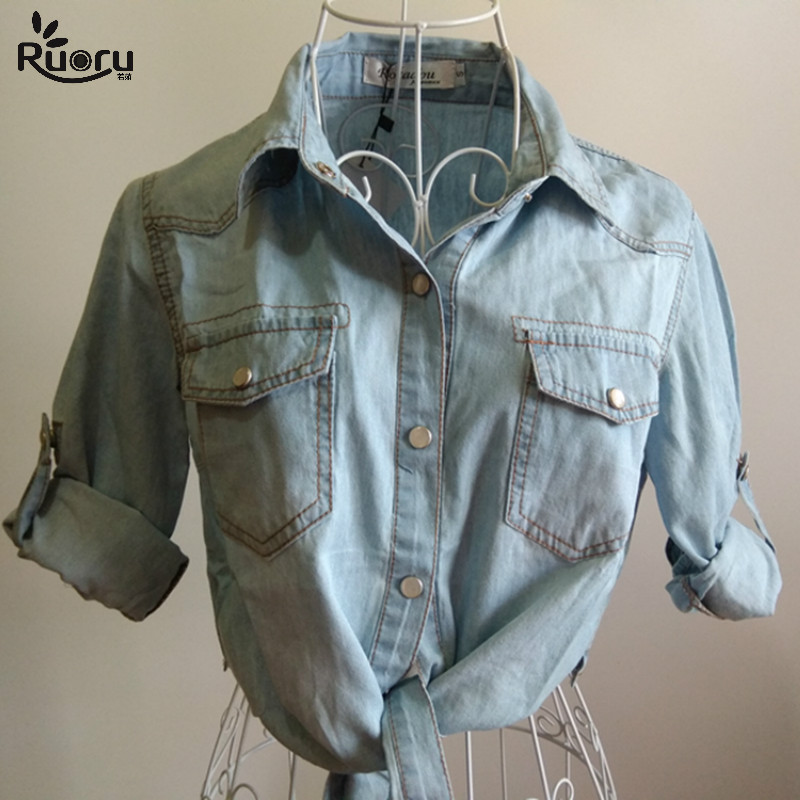 Kimono Denim Shirt Short Sleeve Womens Tops Chemise Femme Crop Top Sexy Short Jeans Shirt Blouse Summer Cool Feminine Shirts