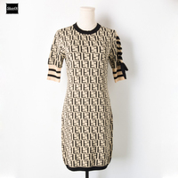 2018 New Basic Knit Sweater Dresses Women Runway Design Lace Up Bow Knitted Office Lady Casual