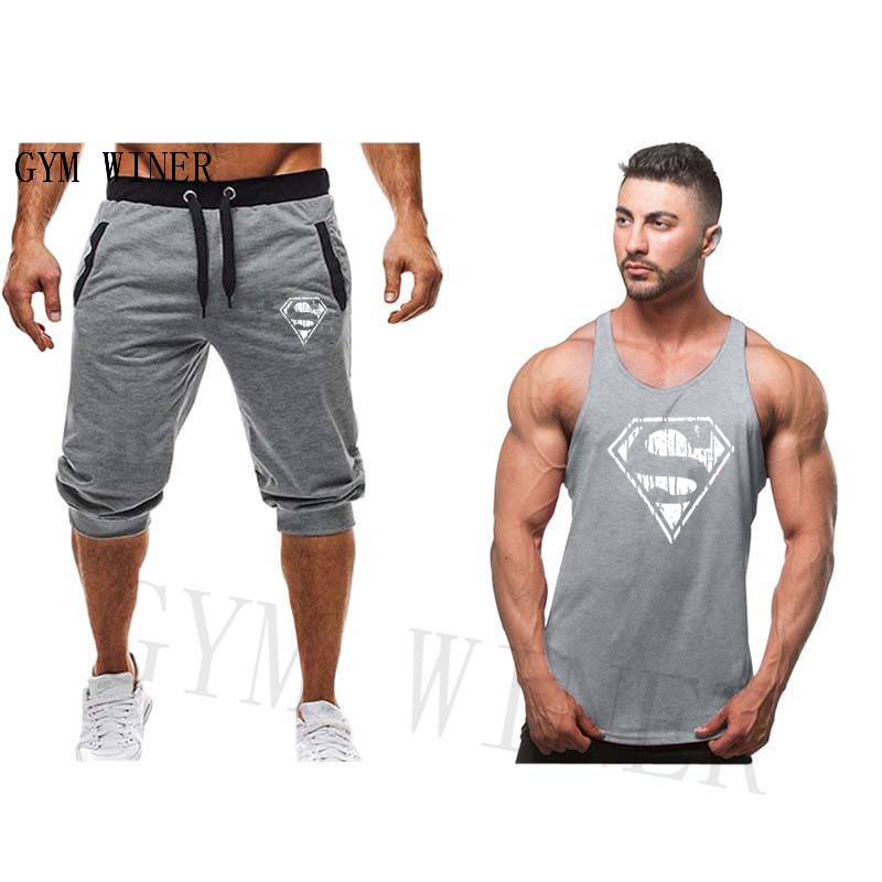 2019 Breathable Elastic Waist Fashion Casual   Short  +gym vest Suit Men Summer Casual   Shorts   Men Brand New Board   Shorts