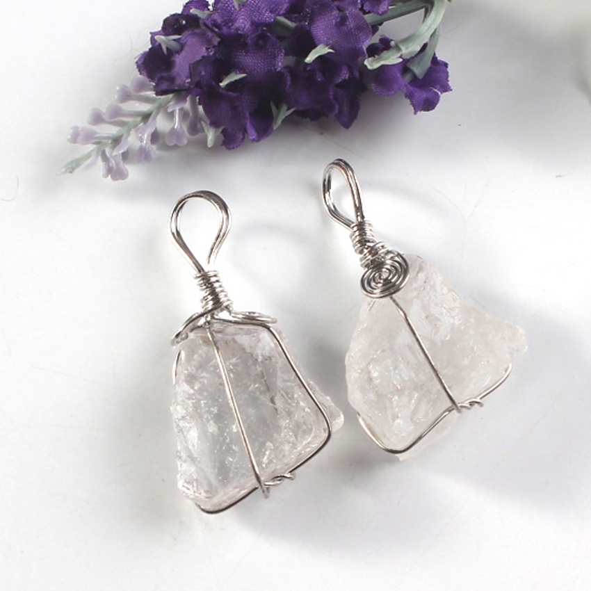Trendy-beads Popular Silver Plated Natural Rock Crystal Wire Winding Irregular Shape Pendant Fashion Jewelry