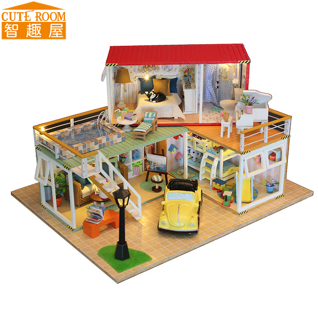 Hot Sale DIY Doll House Wooden Miniatura Doll Houses Miniature dollhouse With Furniture LED Lights Birthday Gift 13841