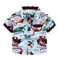 2 Цвет Детские Рубашки Динозавров печати Мальчики Юрского Realm Животных печать с коротким рукавом рубашки Дети топы оптом