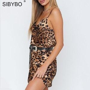 Image 4 - Sibybo robe Sexy femme, imprimé léopard, bretelles Spaghetti, sans manches, col en v, ample, Mini moulante, dos nu, été tenue décontractée