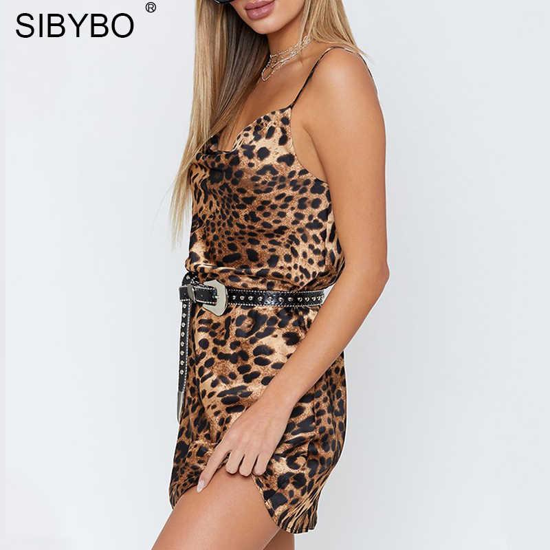 Женское платье с леопардовым принтом Sibybo, обтягивающие мини платья на узких лямках с открытой спиной и V-образным вырезом, повседневная свободная одежда без рукавов для осени