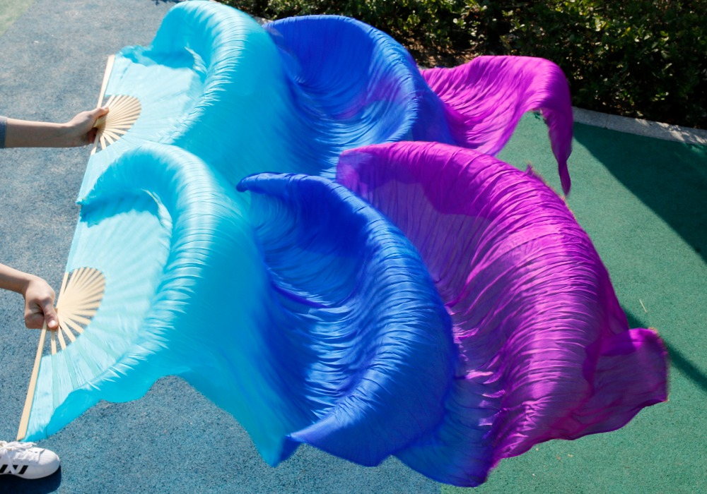 2017 High Quality Silk Belly Dance Fan Dance 100 Real Silk Veils Left right blue Colors