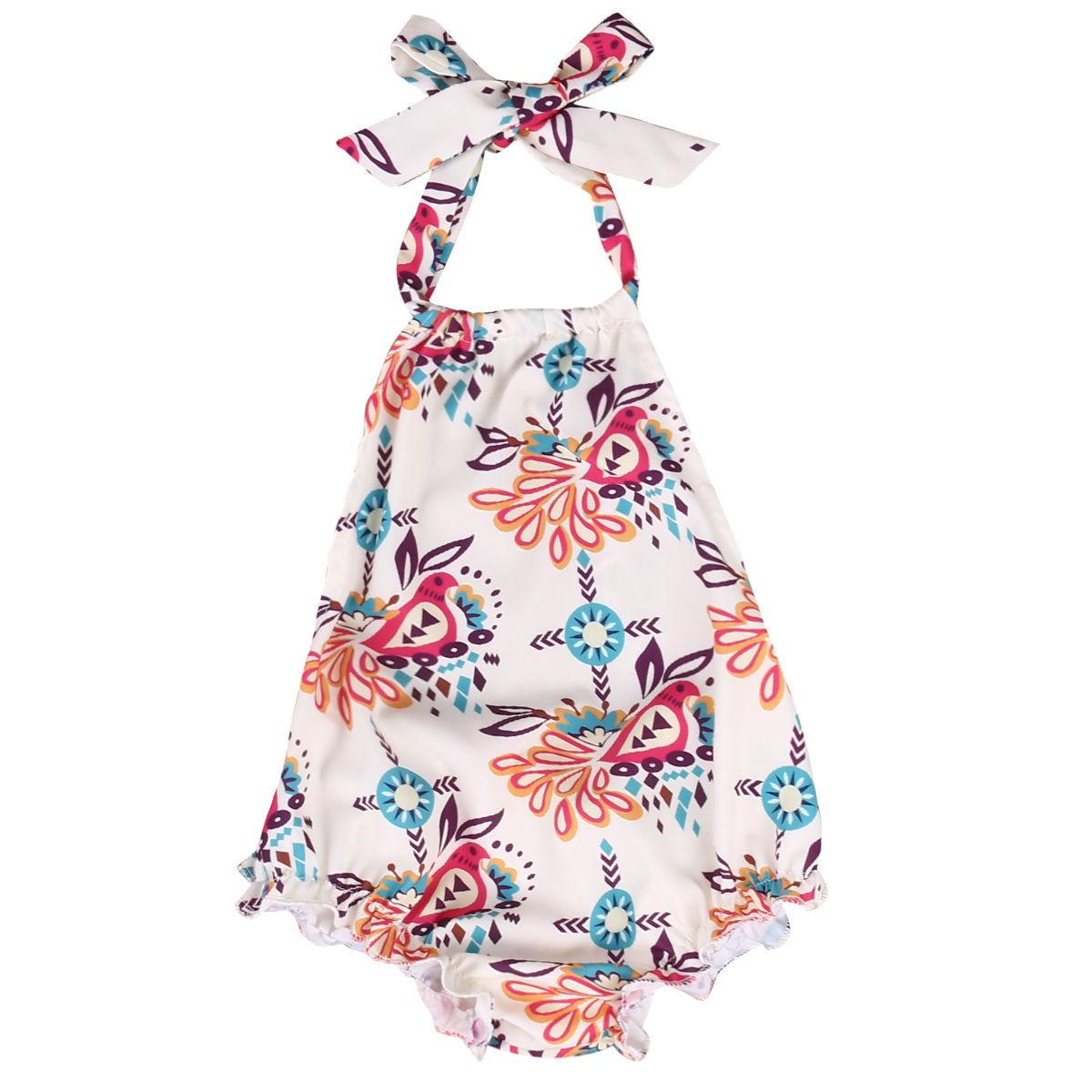 Helen115 Pretty Newborn Baby Girls Summer Floral Printed Sleeveless Leak Back Belt Bodysuit 0-18M