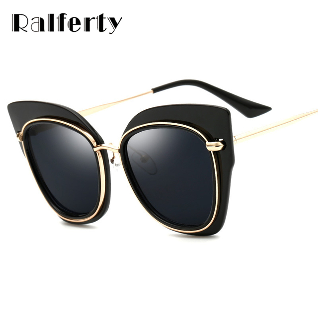 0ffa8be4ec Ralferty Trendy Female Rose Gold Sunglasses Women Cat Eye Frame Sun Glasses  Mirrored Shades Ladies Outdoor Goggles Oculos 2250