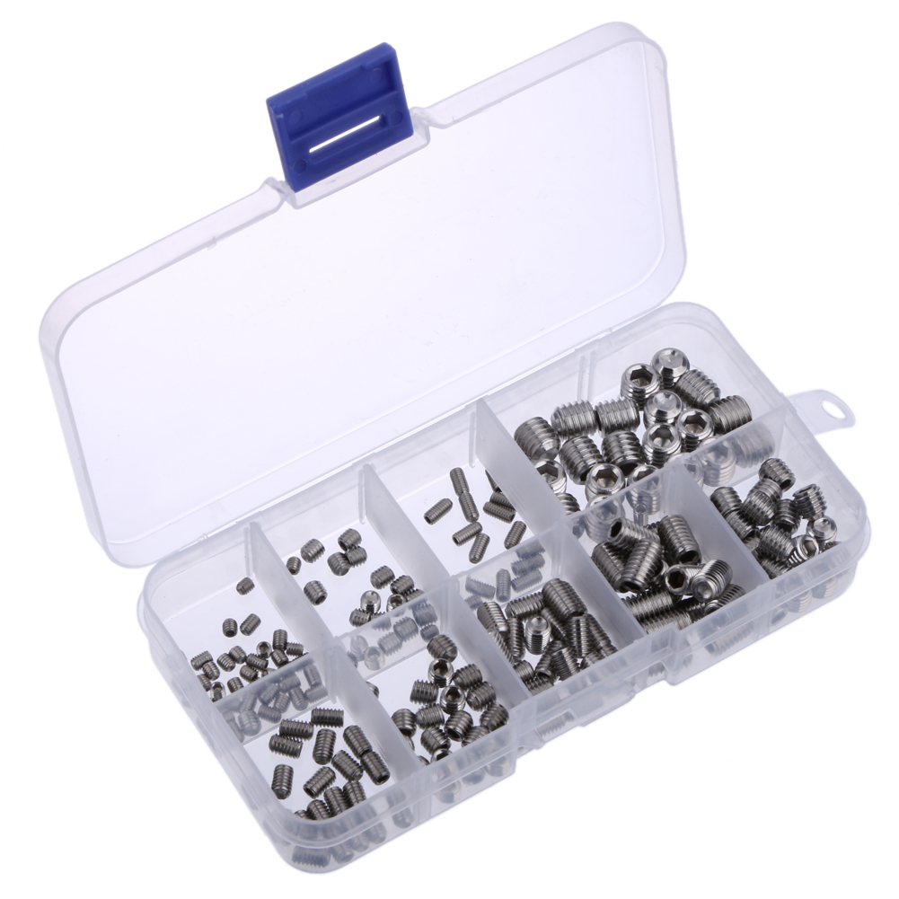 200Pcs Allen Head Socket Hex Set Grub Screw Assortment Cup Point Stainless Steel M3/M4/M5/M6/M8 With Plastic Box 200pcs set stainless steel allen head socket hex set grub screw assortment cup point m3 m4 m5 m6 m8