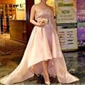 Dubai Árabe Vestidos de Noite Elegante de Cetim Rosa Frisada Alta Baixa Mangas vestido de Baile Do Partido Prom Vestidos Vestidos De Graduacion