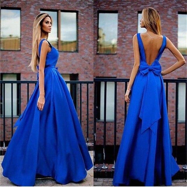 51f3c46a8 Azul real Vestidos de Fiesta 2016 Vestidos Largos Para Bodas Sexy Espalda  Abierta Vestidos de Noche