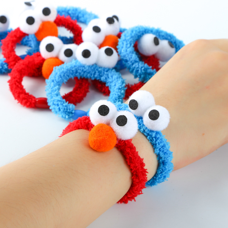 10 Pcs/lot Sesame Street Plush Hair Bands Cartoon ELMO Rubber Band Bracelet Girls Hair Accessories Free Shipping