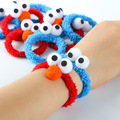 10 pcs/lot Sesame Street plush hair bands cartoon ELMO rubber band bracelet girls hair accessories free shipping