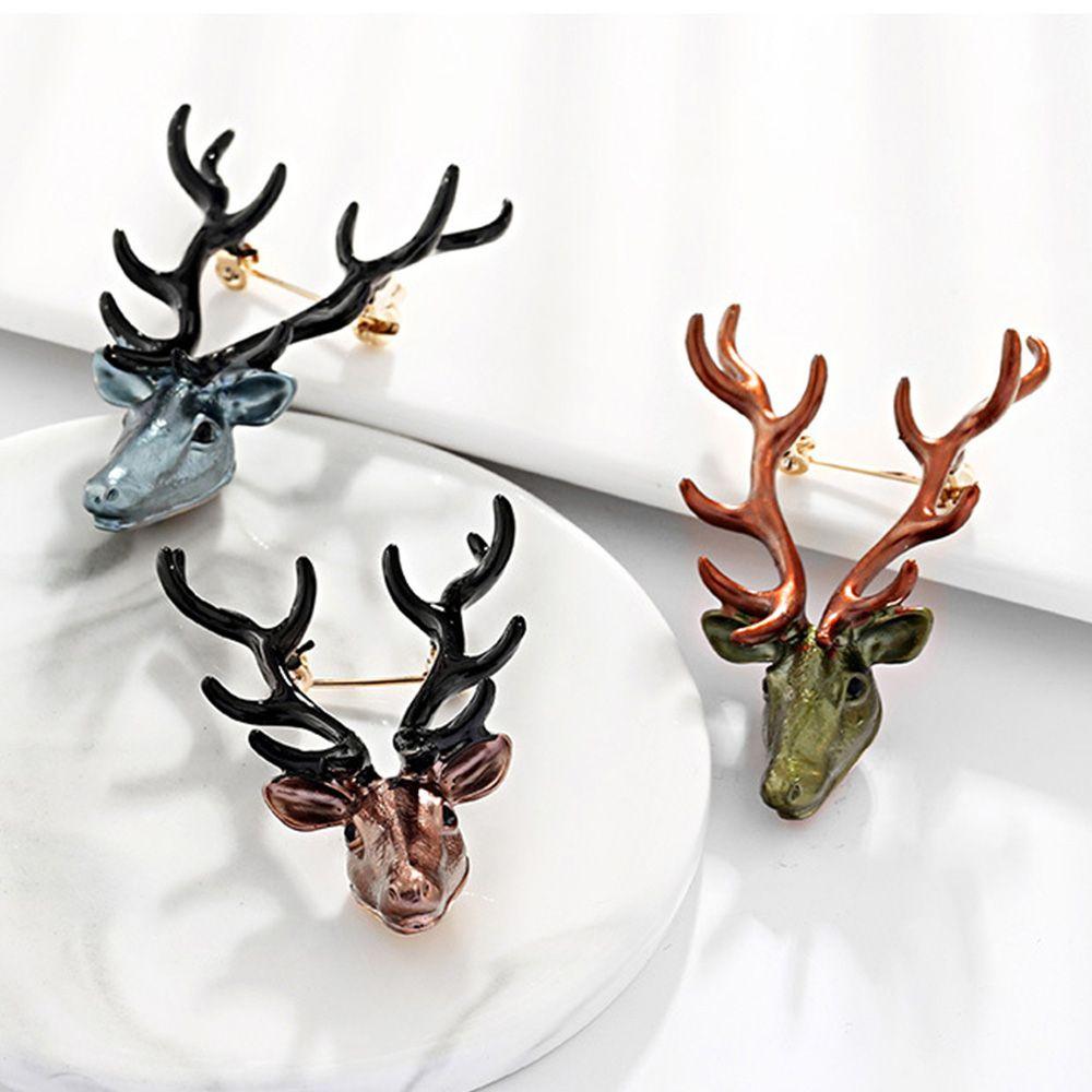 Rétro Charme Métal Animal Cerf Tête Broche pins Xmas NOËL corsages PINS