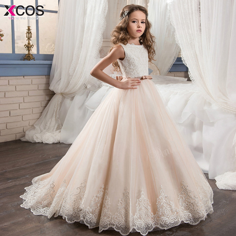 2018 Champagne   Flower     Girl     Dress   with Beige Ribbon Bow Crew Neck Mesh Ball Gowns Kids Holy Communion   Dresses   For Christmas