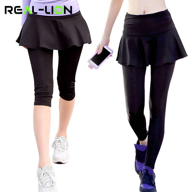 RealLion Culotte Yoga Leggings Femmes De Yoga pantalon 3 4 Longueur Haute  Élasticité Divisé Jupe Jogging Pantskirt Bodybuilding Vêtements dans Yoga  Pantalon ... 35566c68fe3