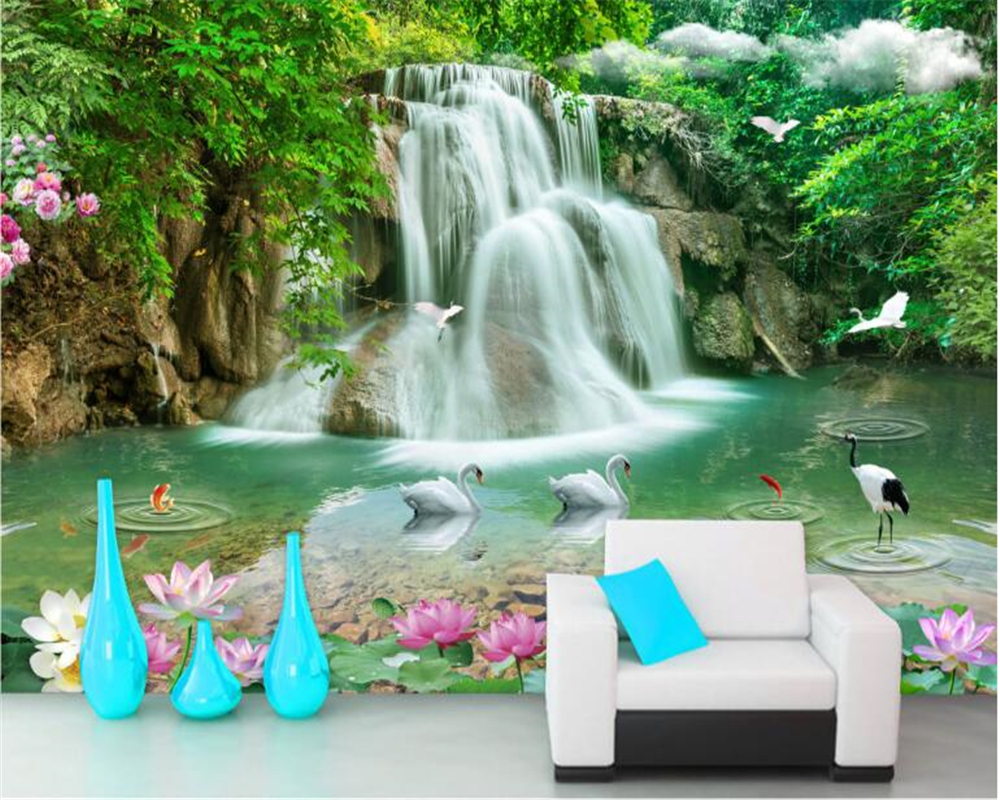 beibehang Stereoscopic fashion beautiful high school wallpaper landscape waterfall TV background wall papel de parede